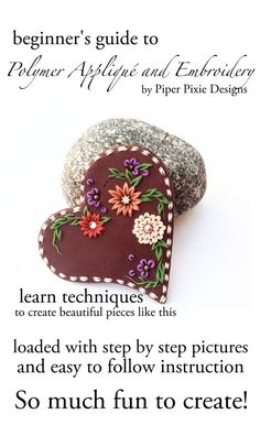 Polymer Clay Tutorial, polymer Applique and Embroidery, Heart, Step by Step, Polymer Clay Jewelry, Jewelry Tutorial, clay jewelry