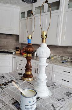 Annie Sloan Chalk Paint Farmhouse Lamp Makeover - The Happy Farmhouse Annie Sloan Chalk Paint Old White, Farmhouse Table Lamps, Old Lamp Shades, Lamp Makeover, Old Lamps, Lampshades, White Paints, Home Improvement, Ceiling Lights
