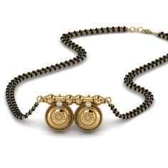 Shop vati maharashtrian mangalsutra with diamonds in yellow gold at Mangalsutra. Diamond Mangalsutra, Gold Mangalsutra Designs, Gold Jewellery Design, Gold Jewelry, Gold Bangles, Bridal Jewelry, Jewelry Rings, Bead Jewellery, Jewellery Shops