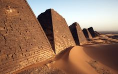 The Sudanese Pyramids |  Egypt may have the biggest pyramids, but Meroe, located in modern-day Sudan has the most. Like their Egyptian neighbors, Nubian royals were commemorated in death with steep sandstone pyramids built over their tombs.