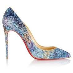 Christian Louboutin Pigalle Follies 100 glitter-finished leather pumps ❤ liked on Polyvore featuring shoes, pumps, glitter shoes, multi colored pumps, glitter pumps, colorful shoes and colorful pumps