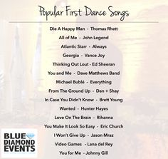 Popular First Dance Songs