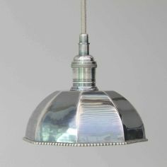 Stunning octagonal shaped pendant light has an aged chrome finish and pretty detail.Braided metal cable and matching ceiling rose.Dia Height length (including ceiling rose) 40 watt or low energy equivalent. *** Due in stock November. Traditional Pendant Lighting, Chrome Ceiling Rose, Chrome Pendant Lighting, Light, Lights, Pendant Light, Silver Pendant Lighting, Vintage Pendant Lighting, Ceiling Lights