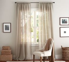 This month's readers' choice is on what type curtains styles you should use in your home. Curtains are a simple way to transform a room and make a difference i Sheer Linen Curtains, Drapery Panels, Drapes Curtains, Linen Fabric, Rod Pocket Curtains, Drapery Styles, Drapery Designs, Pottery Barn, Theoule Sur Mer