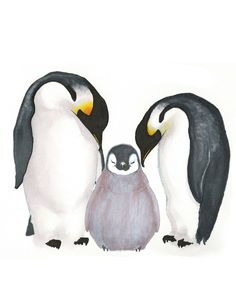 Penguin Family - penguin parents with their precious baby, baby animal, child room art Art Print by ABunnyandBear | Society6