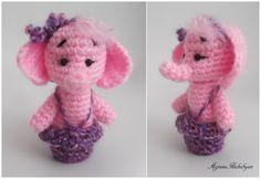 Elephant crochet finger puppet