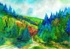 Mountain hiking - Hegyi túra - Aquarelle - 21 x 30 cm - By Márta Bolla - Hungary Landscape Photos, Landscape Paintings, Colorful Trees, Tree Art, Cool Art, Texture, Cool Stuff, Artwork, Mountain Hiking