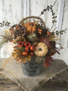 Excited to share this item from my shop: Grateful Thankful Blessed Galvanized Tin Fall Floral Arrangement Thanksgiving Table Centerpiece Autumn Arrangement Harvest Pumpkin Decor Thanksgiving Centerpieces, Thanksgiving Table, Fall Table Centerpieces, Fall Decorations, Star Wars Bb8, Fall Floral Arrangements, Autumn Decorating, Porch Decorating, Decorating Ideas