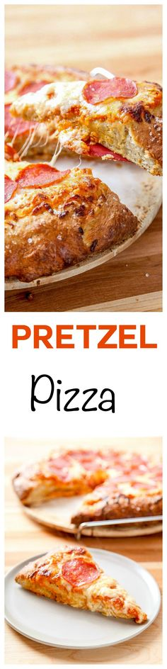 Pretzel Pizza: Buttery pretzel crust topped with all your favorite toppings. Quicker and tastier than delivery: no rising needed! Entree Recipes, Easy Dinner Recipes, Great Recipes, Cooking Recipes, Pizza Recipes, Dinner Ideas, Pretzel Pizza, Pretzel Crust, My Favorite Food