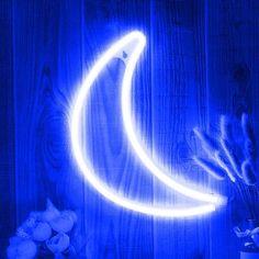 Room Ideas Bedroom, Bedroom Inspo, Bedroom Wall, Blue Moon Light, Blue Led Lights, Light Led, Light Up Signs, Neon Room, Small Room Decor