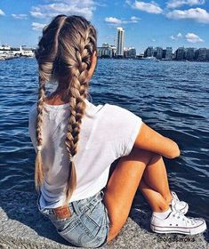 Imagem de girl, hair, and summer