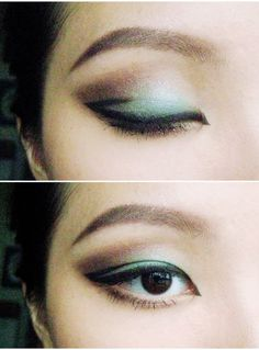 And remember to BLEND! This look is created with green eyeshadow on the lid, and brown eyeshadow halfway up to the browbone, and then blended to create a softer, more natural eye.