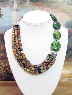 Turquoise and Jasper Asymmetrical Necklace  T3 by daksdesigns