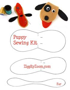 Felt Puppy Sewing Kit to make for Mom ... NO sew & cute as can be!