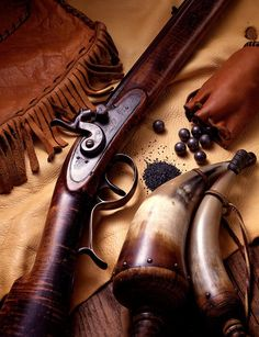 In 1867 conservative estimates put the number of buffaloes in the trans-Missouri region at fifteen million. By the end of the that figure had dwindled to a few hundred. The destruction of the great herds is the theme of The Buffalo Hunters. Black Powder Guns, Longhunter, Powder Horn, Long Rifle, Fur Trade, Mountain Man, Guns And Ammo, Firearms, Hand Guns