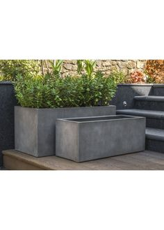 Enclave is a range of premium fibreglass (GRP) planters in the mid-grey colour of polished concrete, with a subtly weathered and pitted appearance in a range of shapes and sizes including the Enclave 1000 & Enclave 900 trough planters Large Garden Planters, Garden Troughs, Trough Planters, Rectangular Planters, Stone Planters, Outdoor Planters, Large Concrete Planters, Plant Troughs, Patio Balustrade Ideas