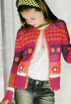 Colored vest for 10 year old girl, with grids Free!