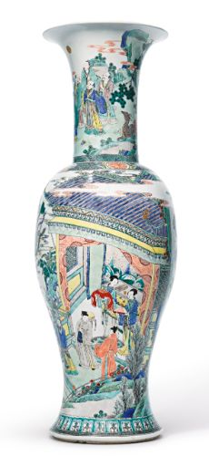 A large famille-verte 'phoenix-tail' vase, Qing dynasty, century Porcelain Jewelry, Porcelain Ceramics, Fine Porcelain, Painted Porcelain, Farmhouse Vases, Old Vases, Antique Vases, China Dinnerware Sets, Japanese Vase