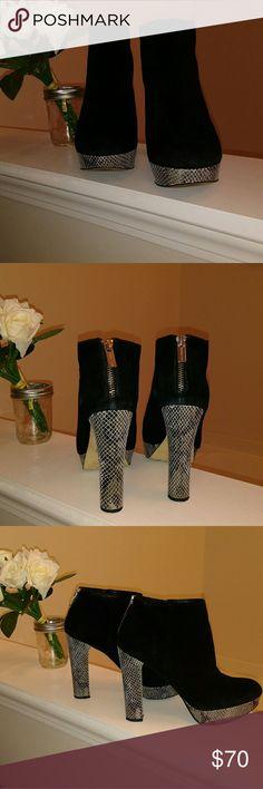 "Michael Kors Boots Gorgeous suede MK boots with snakeskin heels and platform. 1"" platform 5"" heel. Michael Kors Shoes Heeled Boots"