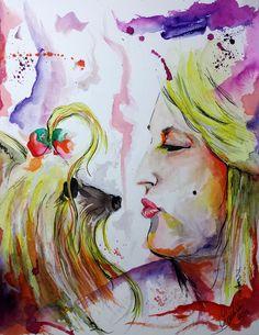 Lari e seu Pet #watercolor #aquarela #watercolour