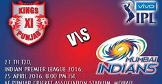 Kings XI Punjab vs Mumbai Indians, 21st T20, Indian Premier League 2016, April 25, 2016, Live Cricket Score | IPLCricket