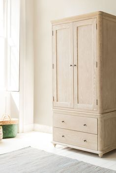 It's not every day that the curved lip of a beautiful old porcelain sink is the inspiration for an oak wardrobe. But hey, who's making the rules here anyway? 2 Door Wardrobe, Kids Wardrobe, Vintage Armoire, Bedroom Furniture, Bedroom Bed, Wooden Furniture, Bedroom Ideas, Comfy Sofa, Velvet Armchair