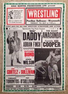 Scarce Genuine Wrestling Event Poster  Big Daddy  Giant Anaconda Weymouth