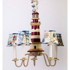 Off Five Arm Red and Tan Lighthouse Chandelier and Shades by Yessica's Collection. Resin base with metal arms and fabric covered styrene shades. Nautical Chandelier, Nautical Lamps, Nautical Bedding, Nautical Nursery, Nautical Theme, Chandelier Shades, Chandelier Lighting, Chandeliers, Nursery Themes