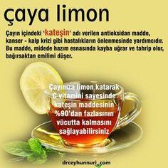 ÇAYA LİMON - Çayın içindeki 'kateşin adı verilen antioksidan madde, kanser ve kalp krizi gibi hastalıkların önlenmesinde yardımcıdır. Bu madde, midede hazım esnasında kayba uğrar ve tahrip olur, bağırsaktan emilimi düşer. Çayınıza limon katarak C vitamini sayesinde, kateşin maddesinin %90'dan fazlasının vücutta kalmasını sağlayabilirsiniz. drceyhunnuri.com