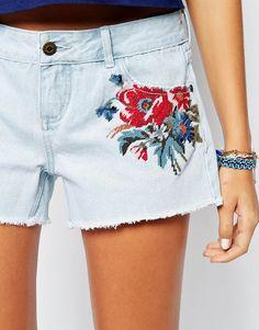 Image 3 - Element - Short coordonné en jean délavée avec imprimé broderies