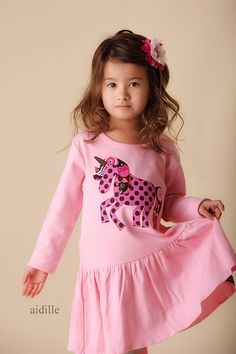 Size+2T+Girls+Pink+Applique+Unicorn+Dress+Fits+Like+24m+by+Aidille,+$35.00