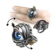 Automatons Eye Steampunk Pewter Ring