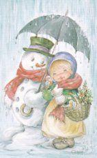 Postal Navidad niña muñeco de nieve 2 Ilus.Nuria Baró
