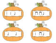 "Fall / Halloween Music Rhythm Game - for the elementary music room ""Pick a Pumpkin""- half note / ta-a / ta-o: Students have a pile of pumpkins with different rhythm patterns on them. Teacher reads or plays a rhythm and students must locate the correct rhythm pumpkin. #kodaly #orff #rhythm #elmused #musiceducation #iteachmusic #tptmusic"