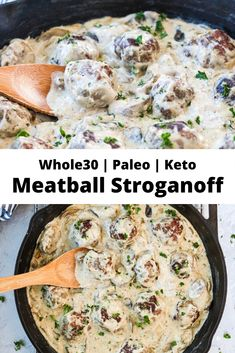 This Whole30 Meatball Stroganoff is a healthier version of the classic comfort food! It is also paleo, Keto, gluten free, and dairy free. Delicious served over mashed potatoes, mashed cauliflower, or gluten free noodles! #whole30recipes #whole30 #paleo #glutenfree #keto #lowcarb #comfortfood #stroganoff #whole30stroganoff #paleostroganoff #januarywhole30 #skilletmeals #whole30skilletmeals