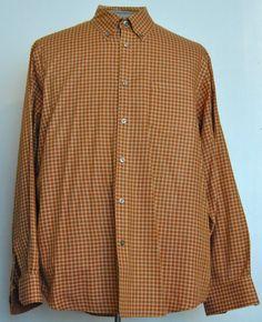 Van Heusen Shirt L Mens Long Sleeve Orange Plaid Button-Down Cotton Blend #VanHeusen free shipping Buy Now  $16.99