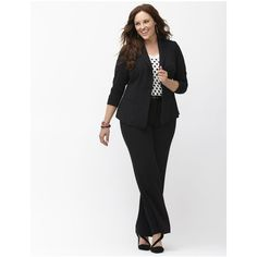 Lane Bryant Plus Size Tailored Stretch suit jacket  Size 22, black ($80) ❤ liked on Polyvore featuring outerwear, jackets, blazers, black, womens plus size jackets, plus size black blazer, plus size blazers, black blazer and draped jacket