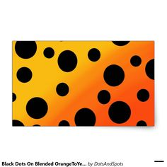Black Dots On Blended OrangeToYellow Rectangular Sticker