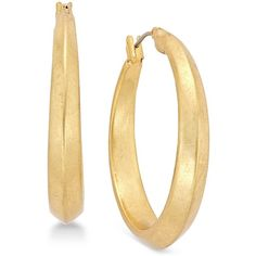Lauren Ralph Lauren Gold-Tone Thick Hoop Earrings ($38) ❤ liked on Polyvore featuring jewelry, earrings, gold, chunk jewelry, gold tone jewelry, goldtone jewelry, gold tone earrings and chunky earrings