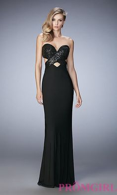 Image of long open-back La Femme sweetheart dress Style: LF-22150 Front Image