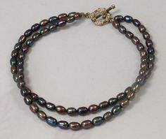 Two strands Black Pearls Anklet / Freshwater by SunMoonJewels