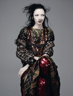 Mariacarla Boscono reveals glitz and tartan for Dazed Summer 2014