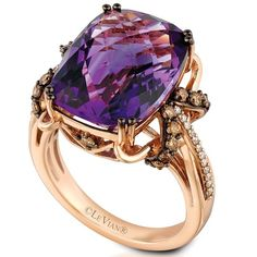 Feeling regal? Pictured: Candy Colors® Amethyst in Strawberry Gold® accented with Chocolate Diamonds® and Vanilla Diamonds®. http://bit.ly/1lCYG4a #levian #sweetbling