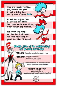 Cat In The Hat Invitations Menu Plan Monday A Birthday