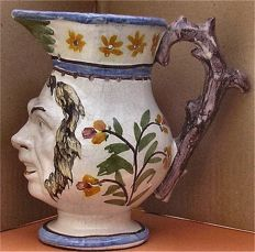 French Faience Satyr Mask Puzzle Jug