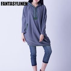 Gray Hood Casual Loose Dress Women Tops H1201A Clothes will not shrink,loose Cotton fabric, soft to the touch. *Care: hand wash or machine wash gentle, best to lay flat to dry. *Material: Cotton Weigh