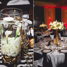 Calli and Kidd's wedding this past October features our Printed Stripe Runner in #blackandwhite under floating candle votives at the #RitzCarltonDenver with @markchristopherweddings. They also used a mix of classic Black and also white chair covers, with white and black #DuchessSatin sashes. The table linens used were White #Colchester paired with black Duchess Satin napkins. Beautiful with the mix of #gold and white florals in the centerpieces & mercury glass votives. Check out more…