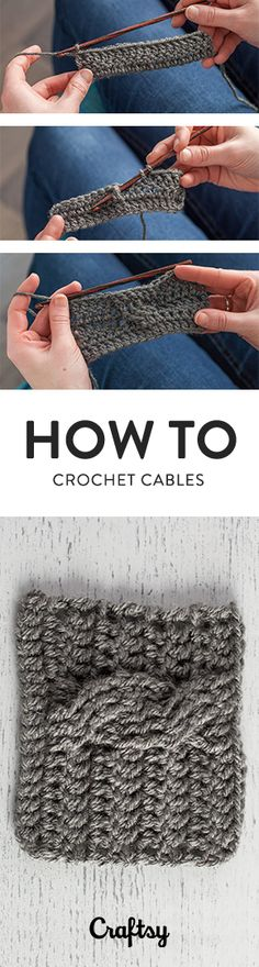 Crocheted cables are made by skipping a set of stitches (usually 2 or 3, depending on the stitch width of the cable), then crossing front and back post stitches to create the twisted quality of a cable.