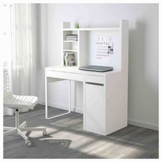 """MICKE Computer work station - white - IKEA -- """"You can keep your desk clear of paper by writing your notes on the magnetic writing board on the back panel or fastening your to-do lists there with a magnet. Bedroom Desk, Room Ideas Bedroom, White Desk With Hutch, White Desk With Drawers And Shelves, Ikea Linnmon, Micke Desk Ikea, Ikea Workstation, Ikea Brusali, Teenage Room Decor"""