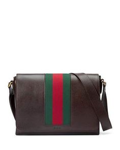 Gucci Textured Leather Messenger Bag w/Web, Brown
